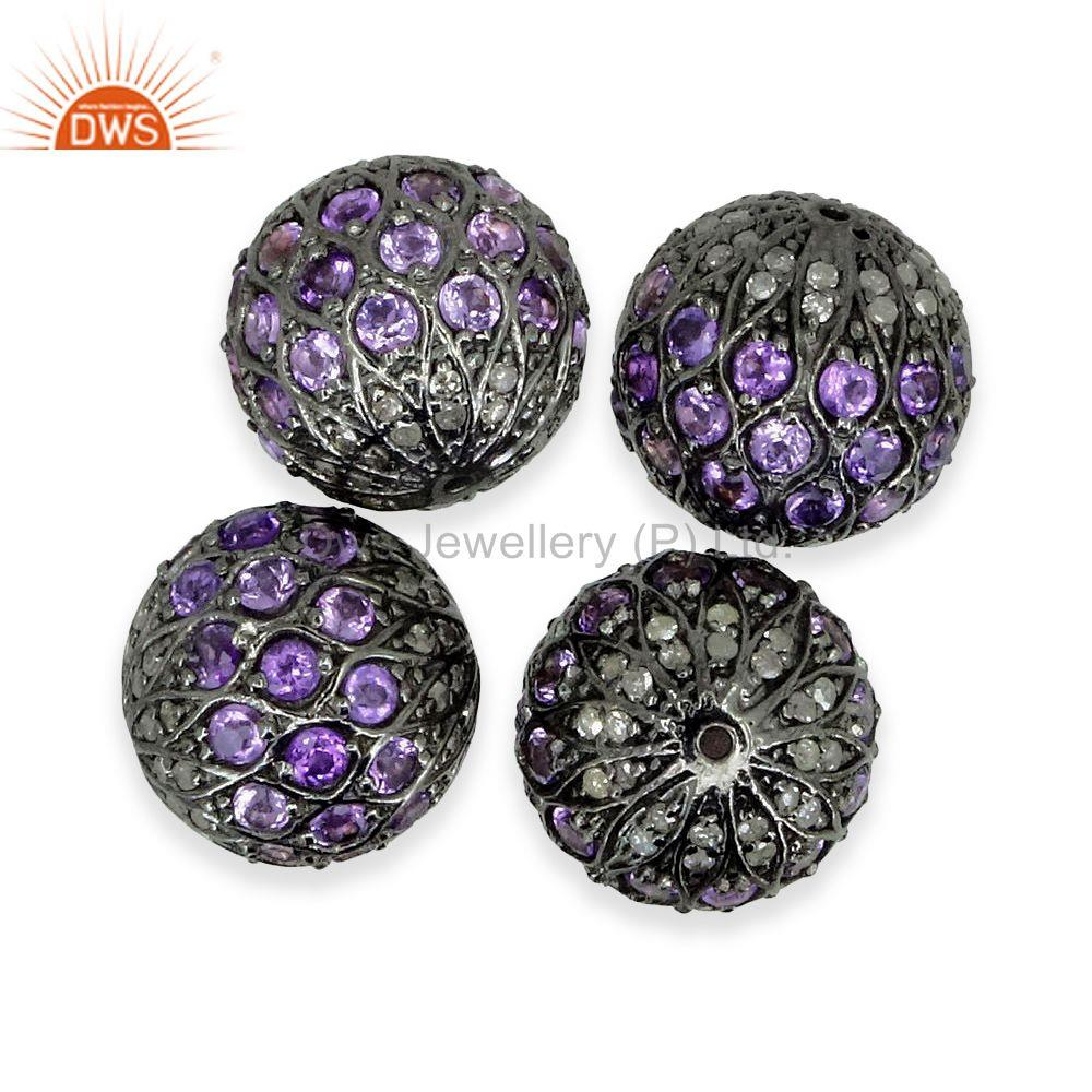 Exporter Diamond Gemstone Spacer Bead 925 Silver Amethyst Disco Ball Finding Jewelry 15MM