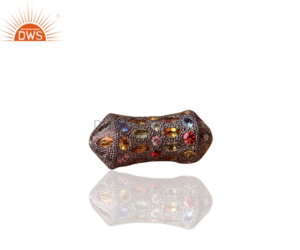 Exporter Multi Gemstone 925 Sterling Silver Fine Spacer Finding Jewelry 30x13 mm