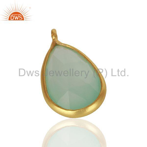 Exporter Aqua Chalcedony Gemstone Gold Plated 925 Silver Pendant Findings