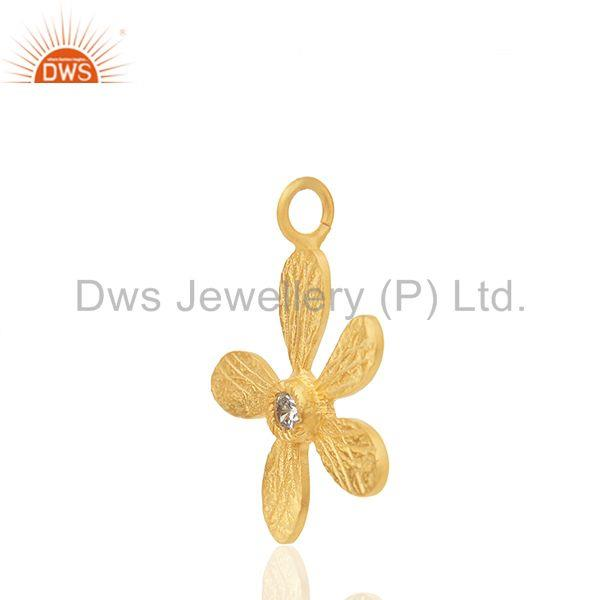 Exporter Floral Design Brass Gold Plated White Zircon Charm Jewelry Findings