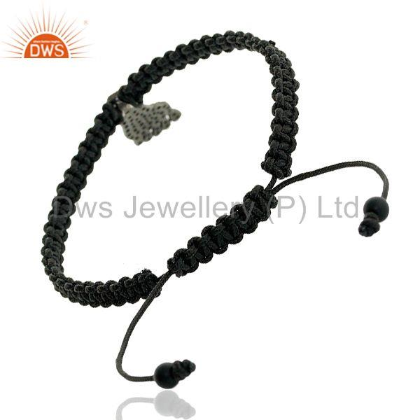 Exporter 0.83ct Pave Diamond Onyx 925 Sterling Silver Foot Charm Macrame Bracelet Jewelry
