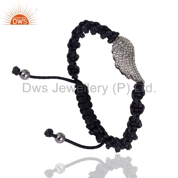 Exporter 0.5ct Pave Diamond 925 Sterling Silver Angel Wing Style Macrame Bracelet Jewelry