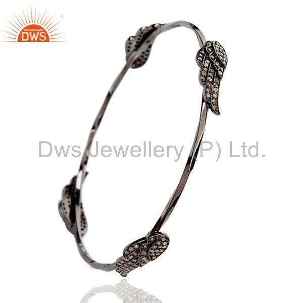 Supplier of 1.12ct pave diamond angel wing design bangle sterling silver jewelry