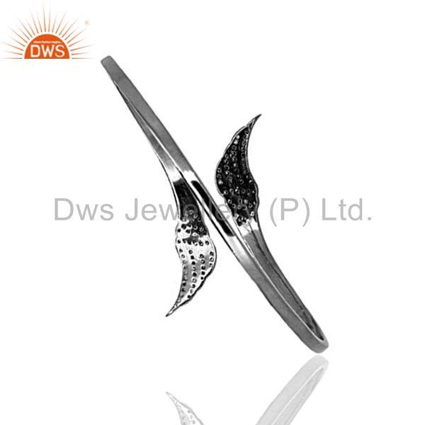 Exporter Sterling Silver ANGEL WINGS Cuff Bangle Bracelet Pave Natural Diamond Jewelry QY
