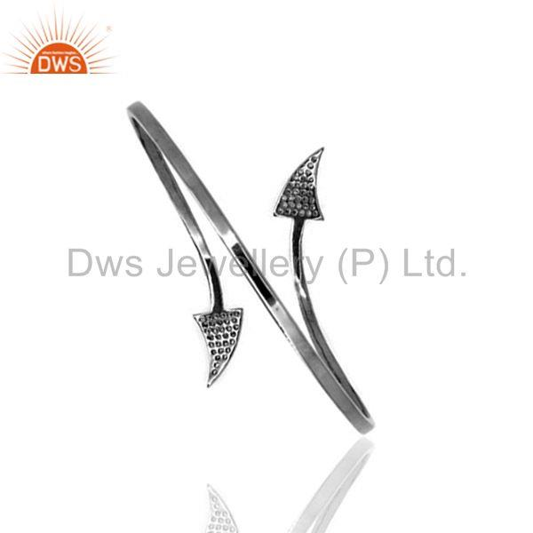 Exporter Pave Diamond ARROW HEAD Bangle Bracelet 925 Sterling Silver WONDERING Jewelry
