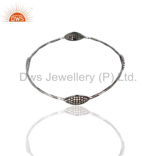 Supplier of Natural 1.70ct diamond pave 925 silver bangle fashion jewelry