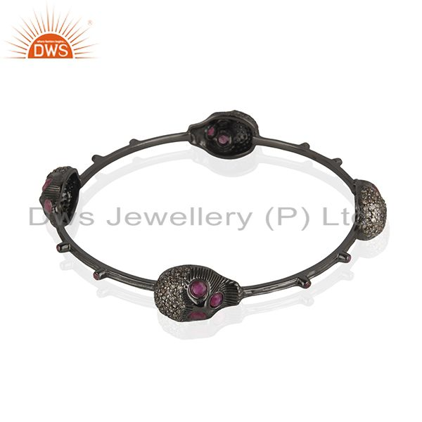 Supplier of Four skull bangle pave diamond ruby 925 silver handmade jewelry