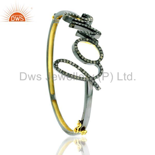 Supplier of 1.48ct pave diamond 14kt gold 925 silver love quoted bangle jewelry