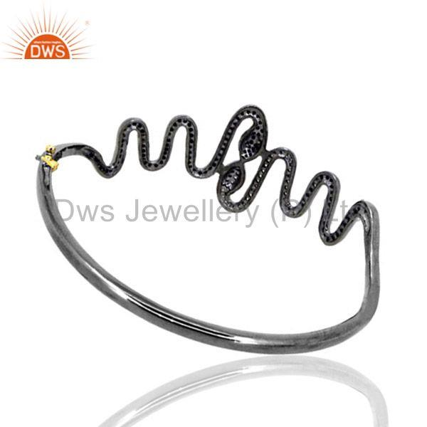 Supplier of Pave diamond 14k gold snake bangle 925 silver wondering halloween fine