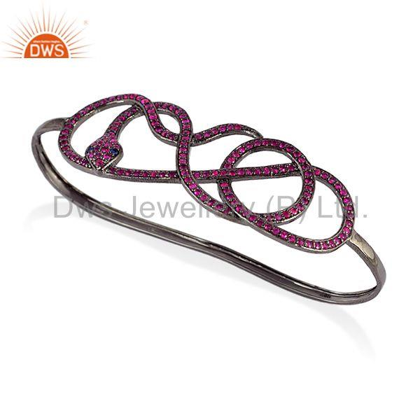 Supplier of Sapphire ruby sterling silver fashion wrap snake palm bangle jewelry