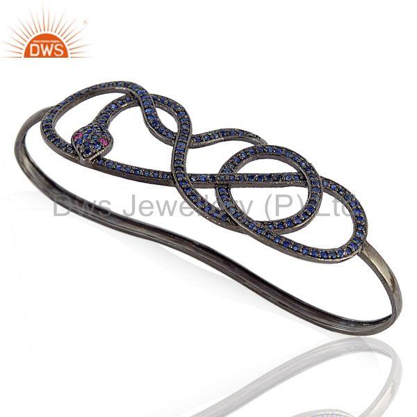 Supplier of 3.18ct blue sapphire 925 silver wrap snake palm bangle jewelry