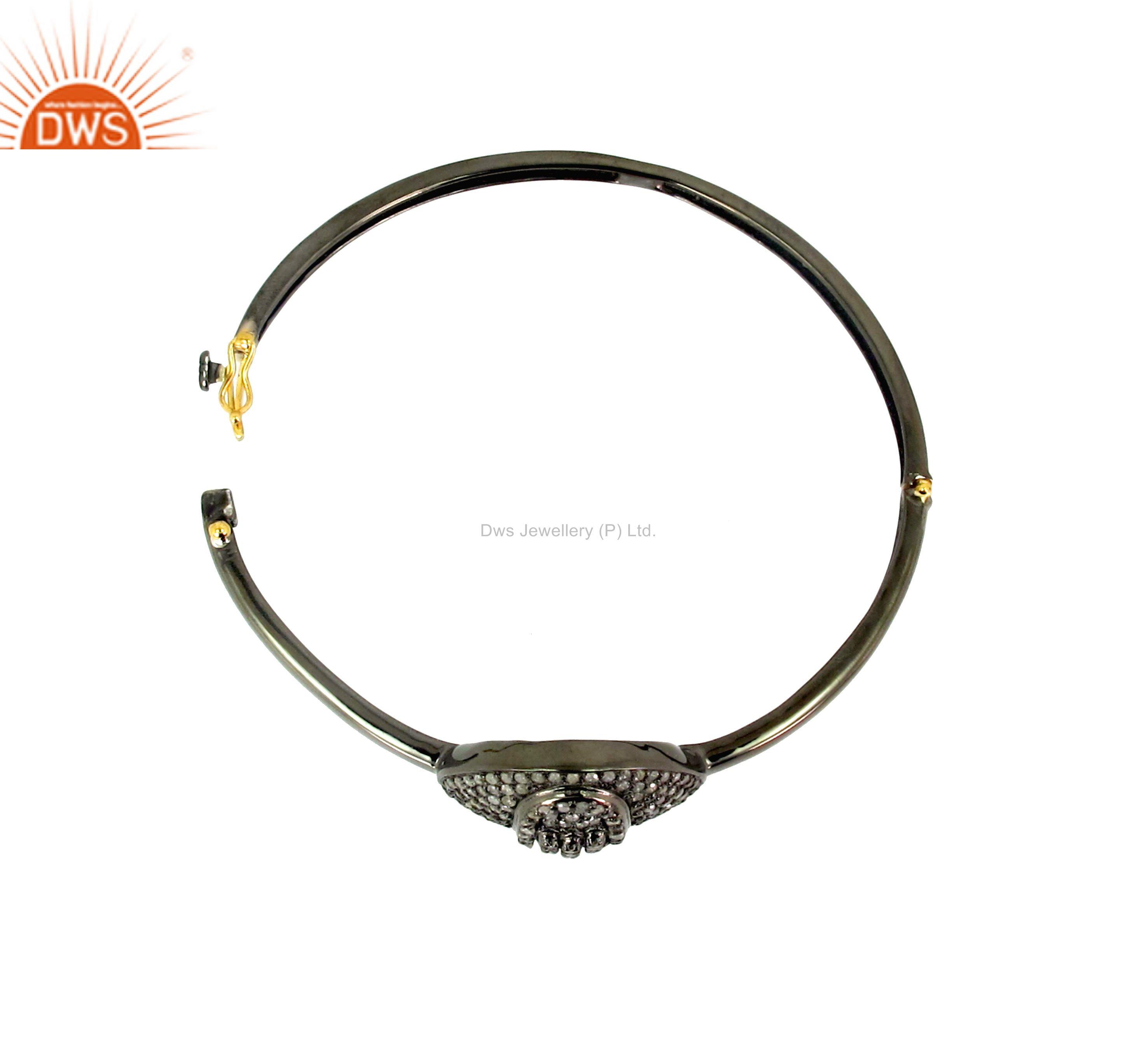 Supplier of Diamond studded hamsa hand bangle 14k gp 925 silver religious jewelry