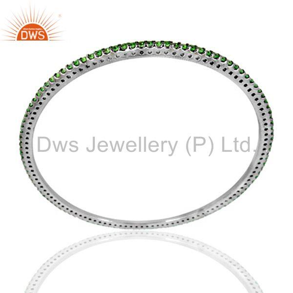 Supplier of Natural tsavorite gemstone solid silver bangle manufacturers india