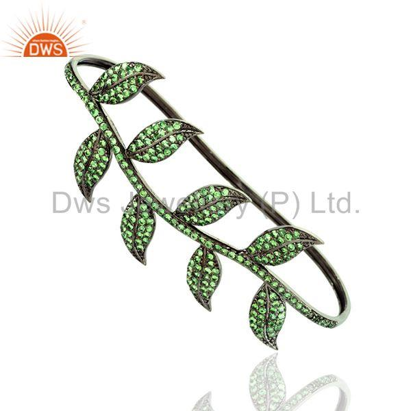 Supplier of Leaf style women gift palm bangle 4.6 ct tsavorite 925 silver