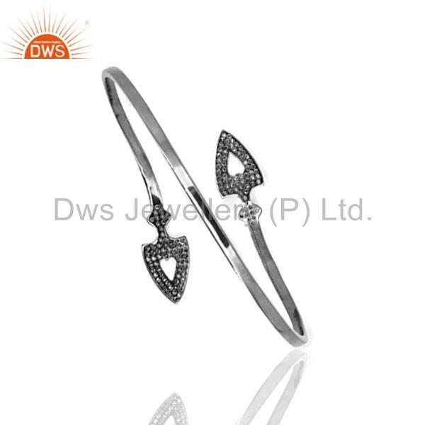 Supplier of Arrow head cuff bangle 925 silver diamond vintage look jewelry qy