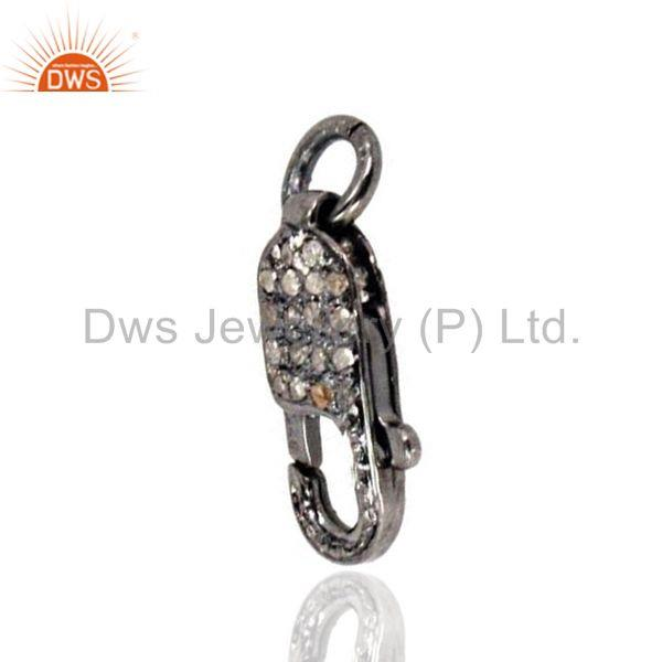 Exporter 925 Sterling Silver Lobster Clasp Finding Natural Diamond Pave Fashion Connector
