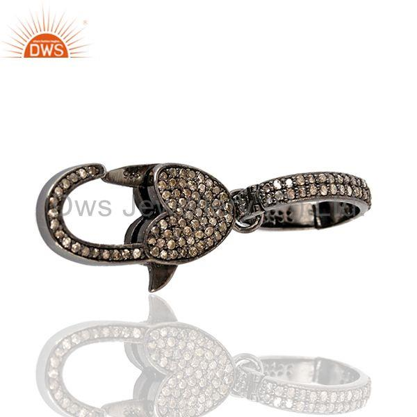 Exporter 1.10 ct Pave Diamond .925 Sterling Silver Clasp Lock Connector Finding Jewelry