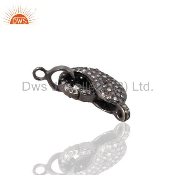 Exporter 925 Sterling Silver Pave Natural Diamond Lobster Clasp Handmade Jewelry Finding
