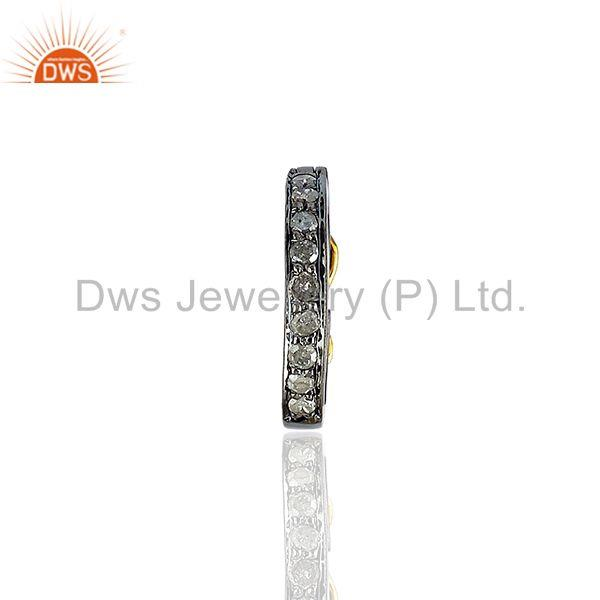 Exporter 18kt Gold Rondelles 0.12ct Diamond Spacer Finding 925 Sterling Silver Jewelry