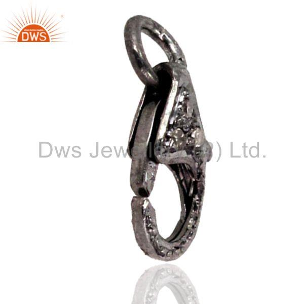 Exporter 925 Sterling Silver Pave Diamond Lobster Clasp Handmade Jewelry Finding 3Pc. LOT