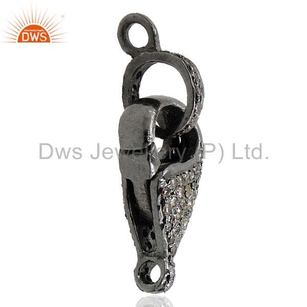Exporter 0.49Ct Diamond Pave Lobster Clasp Pendant 925 Sterling Silver Jewelry 27x9 mm