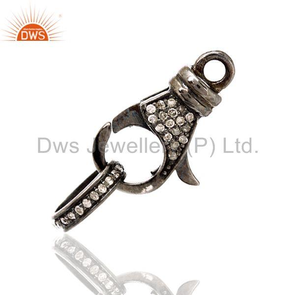 Exporter 0.26ct Diamond Sterling Silver Clasp Lock Connector Finding Jewelry