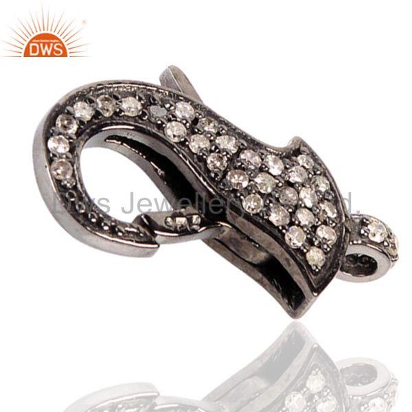 Exporter 0.43ct Pave Diamond Clasp Spacer Finding 925 Sterling Silver Handmade Jewelry