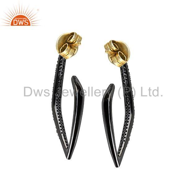 Exporter Pave Diamond Sterling Silver Hoop Earrings 14k Gold Designer Fashion Jewelry