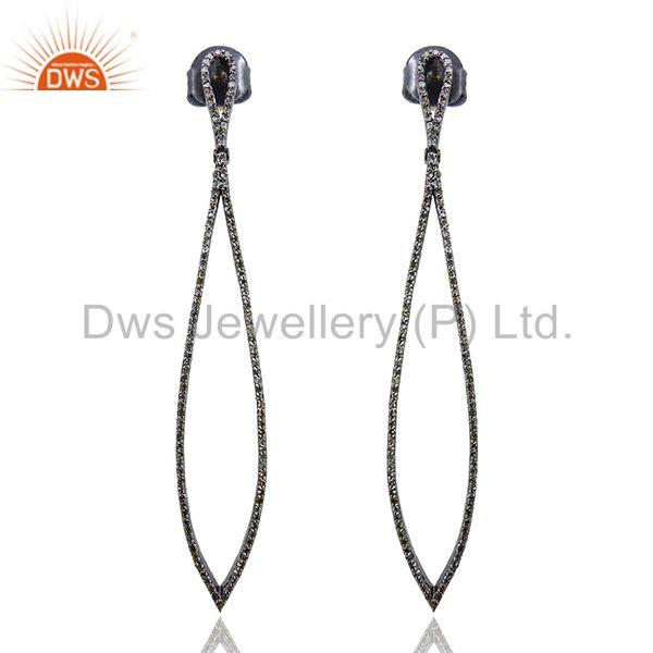 Exporter 14k Gold Vintage Look Dangle Earrings Sterling Silver Studded Diamond Jewelry QY