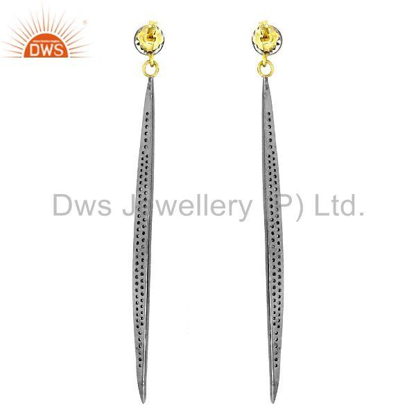 Exporter Diamond Pave 925 Sterling Silver Long Dangle Earrings 14k Gold Fine Jewelry OY