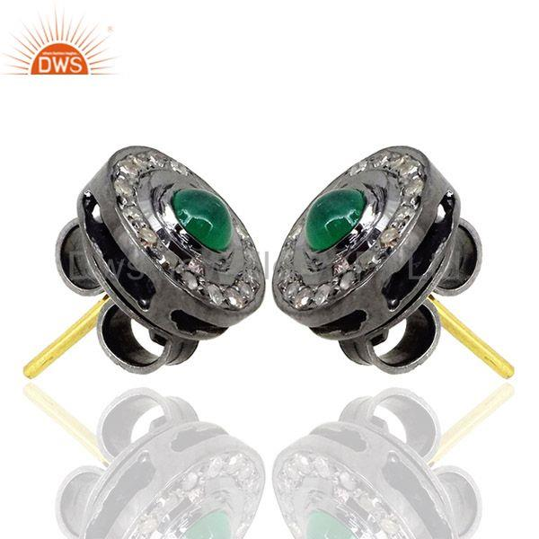 Exporter Emerald Diamond Handmade Fine Stud Earrings Sterling Silver 14K Gold Jewelry CY