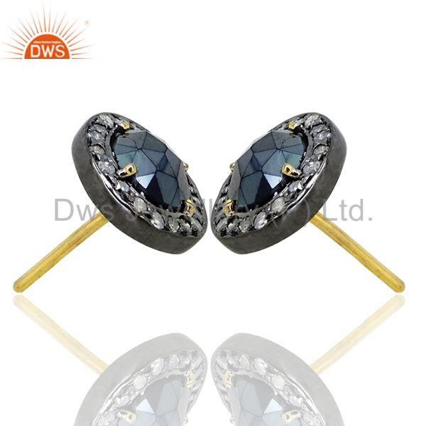 Exporter 14k Gold Black Spinel Diamond Pave Stud Earrings Sterling Silver Fashion Jewelry