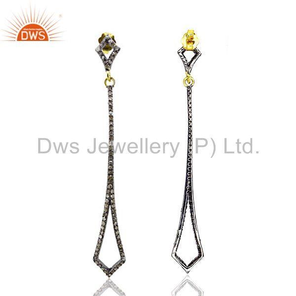 Exporter 1.4ct Pave Diamond 925 Sterling Silver Long Dangle Earrings Vintage Look Jewelry