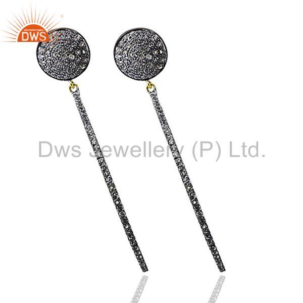 Exporter Pave White Topaz Gemstone Stick Dangle Earrings Sterling Silver Jewelry 14k Gold