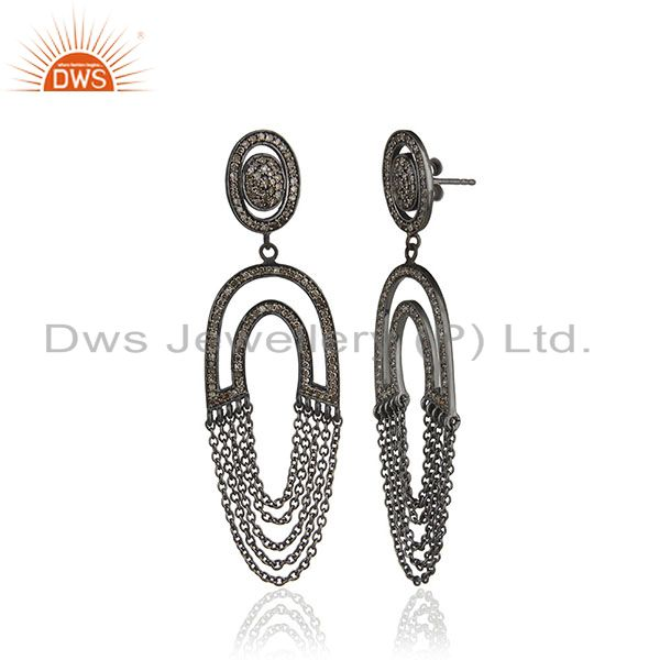 Exporter Diamond Pave Dangle Earrings Sterling Silver 14 K Gold Vintage Style Jewelry PY