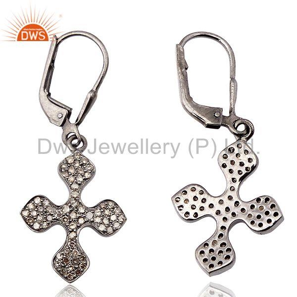 Exporter 0.61 ct Pave Diamond .925 Sterling Silver Cross Design Clip On Earrings Jewelry