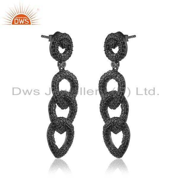 Exporter 925 Sterling Silver Black Spinel Pave Link Chain Long Earrings