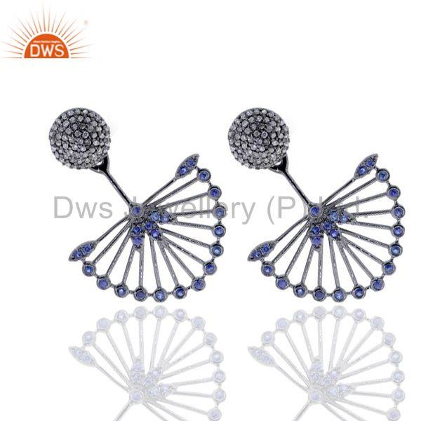 Exporter Pave Diamond Blue Sapphire Ear Jacket Earrings 14K Gold Sterling Silver Jewelry