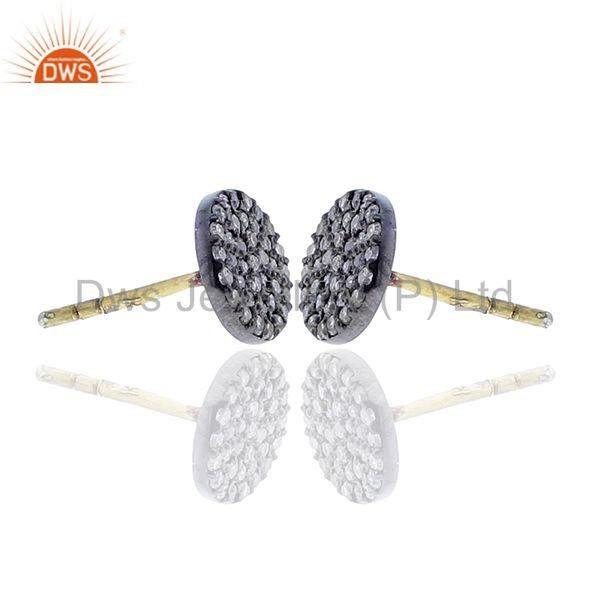 Exporter Disc & Round Shape Diamond Stud Earrings Silver Gold Jewelry Gift For Christmas