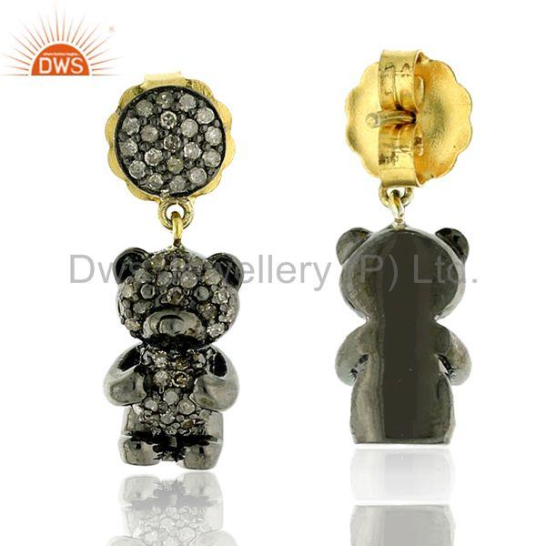 Exporter 1.19ct Pave Diamond Teddy Bear Design Dangle Earrings 14kt Gold Silver Jewelry