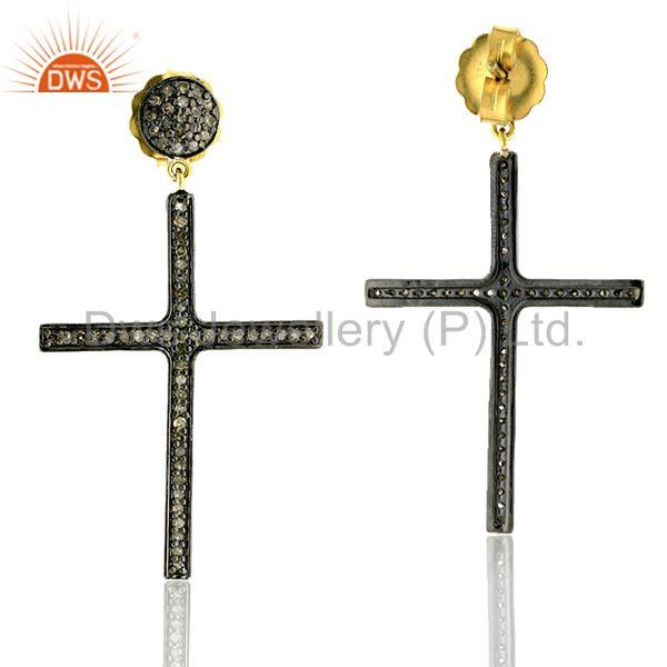 14kt gold silver 1.03ct pave diamond cross dangle earrings religious jewelry