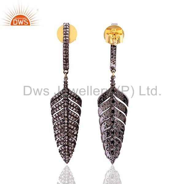 1.30 ct pave diamond 14kt gold dangle earrings 925 sterling silver women jewelry