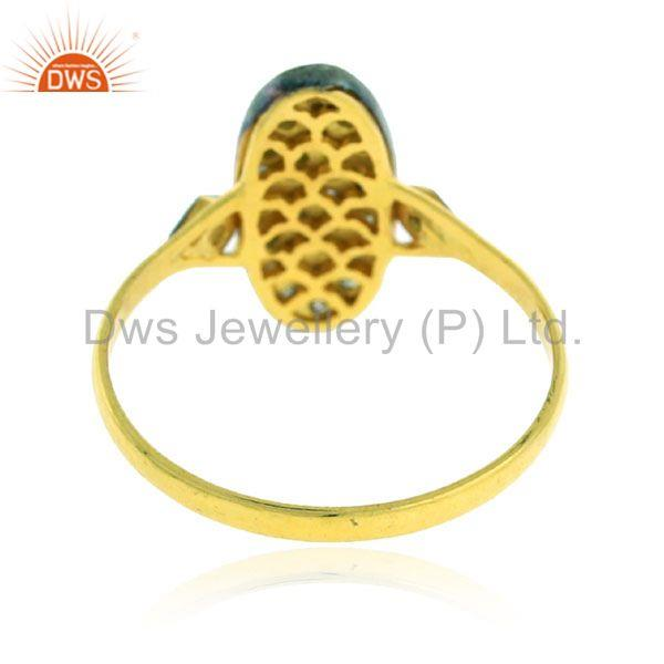 0.20ct pave diamond 18kt gold 925 sterling silver vintage look ring gift jewelry