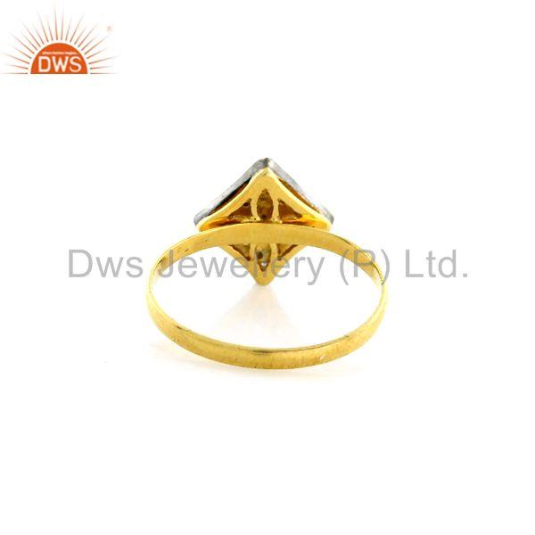14kt solid yellow gold 0.17ct pave diamond 925 sterling silver ring gift jewelry