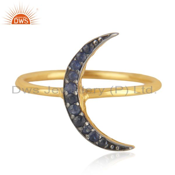 Size 7 blue sapphire stone 14k yellow gold crescent moon fine ring jewelry