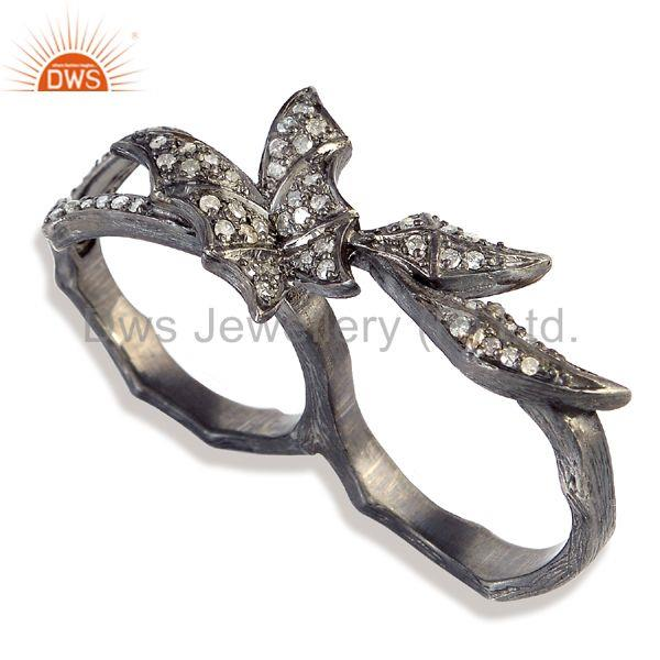 0.49 ct pave diamond 925 sterling silver designer two finger ring women jewelry