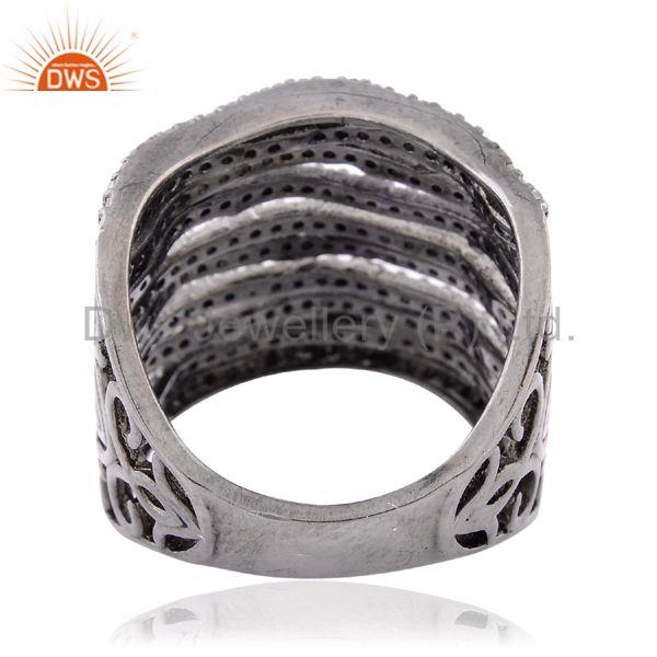 1.03 ct natural pave diamond handmade ring .925 sterling silver designer jewelry