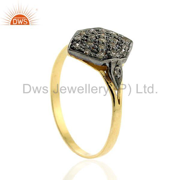 14k solid gold 0.19ct pave diamond 925 sterling silver ring vintage look jewelry