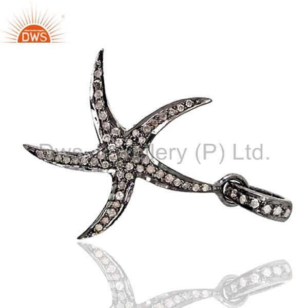 Exporter 925 Silver Star Charm Pave Diamond Pendant Jewelry Findings Suppliers