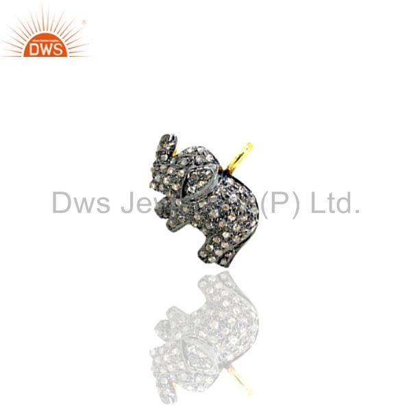 Exporter 0.50Ct Diamond Pave 925 Sterling Silver Elephant Pendant Fine Gift Jewelry